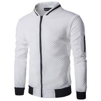 cuello de bata hombres al por mayor-2018 Nueva Capa Casual Hombres Chaqueta de Moda Otoño Sólido Plaid Thin Hombres Bomber Jacket Stand Collar tamaño europeo
