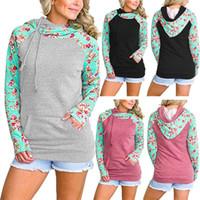 Wholesale Winter Jackets Fashion Women - Fashion Double Color flower printed Hoodies Long Sleeve Patchwork Pullover Winter Women Jacket Sweatshirts Jumper Outerwear GGA125 10PCS