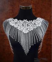 chales de cristal al por mayor-2019 lujoso Bling Bling Crystal Rhinestone nupcial Wraps apliques de encaje con cuentas boda chal chaqueta Bolero chaqueta para accesorios de boda