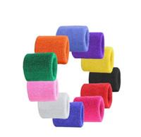 muñequeras de felpa al por mayor-Terry deporte de pulsera protector de la muñeca de toallas gimnasio ayuda de la muñeca bandas de sudor del algodón de la yoga de la aptitud de la muñeca banda de seguridad Gimnasio Brazales Sweatbands