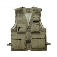 Wholesale Photography Works - Men's Brand AFS JEEP High Quality Vests Men Mesh Photography Multi-pocket Cargo Work Vest Male Casual Waistcoat Jackets 878