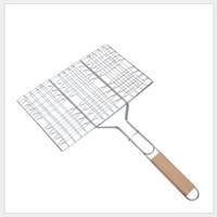 außengrills großhandel-Sommer Outdoor Grill Werkzeuge Gegrillter Fisch Clip Braten Hamburger Net Umwelt Grill Zubehör mit Holzkurbel GGA288 60 STÜCKE