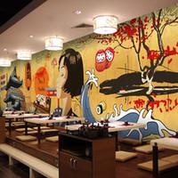 ingrosso carta da parati floreale nera per soggiorno-Foto di formato personalizzato giapponese carta da parati personaggio dei cartoni animati ristorante in stile giapponese retrò edificio hot pot barbecue carta da parati murale