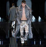 fourrure de renard hommes manteaux d'hiver achat en gros de-Argent hiver épaissir chaud faux renard fourrure manteaux hommes en peau de vison pardessus hommes à long conception trench manteaux jaqueta de couro plus la taille