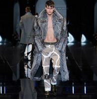 mens uzun sıcak kışlık palto toptan satış-Gümüş kış kalınlaşmak sıcak faux fox kürk mont erkek deri vizon palto erkekler uzun tasarım trençkotlar jaqueta de couro artı boyutu