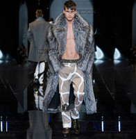 couro de vison venda por atacado-Inverno de prata engrossar quente faux casacos de pele de raposa mens casaco de vison de couro homens longo design trench coats jaqueta de couro plus size