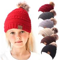 Wholesale kids hats online - Kids CC Hats colors Kids CC Pom Beanies Thick Stretchy Knit Slouchy Beanie Cap Hat Children Winter Beanie with Pom Lined CC Pompom z100
