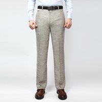 Wholesale Men S Linen Dress Suit - Wholesale-2016 New High Quality Men Casual Loose Suit Pants Linen Cotton Easy Care Formal Long Dress Pants Trousers Plus Size 13M0112