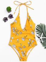 maiô vintage de uma peça venda por atacado-Atacado One Piece Swimsuit 2018 Sexy Amarelo Swimwear Mulheres Maiô Swim Vintage Verão Praia Wear Impresso Bandagem Monokini