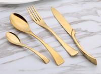 Wholesale Metal Dinner Plates Wholesale - Gold Dinnerware Set for Dinner Plates Stainless Steel Tableware Set Western Fork Knife Spoon Tea Spoon