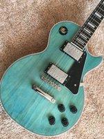 Wholesale Lp Guitar Body - lp custom guitar light blue color with chrome hardwares Ebony fingerboard lp standard electric guitar in stock