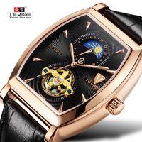 квадратные мужские часы механические оптовых-TEVISE Watch Men Sport Automatic Mechanical Mens Watch  Square Genuine Leather Waterproof Moon Phase Wristwatches Clock