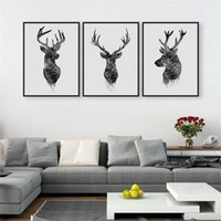 habitaciones pintadas de negro al por mayor-Arte de la pared Animal Pictures Impresión a prueba de agua Pintura de la lona para la sala de estar Decoración del hogar Negro Blanco Deer Head Modern Paintings 21 8aw4 jj