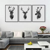 photos d'art mur noir achat en gros de-Wall Art Animal Photos Imprimer Water Proof Toile Peinture Pour Salon Décor À La Maison Noir Blanc Tête De Cerf Modernes Peintures 21 8aw4 jj