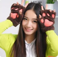 Wholesale bear paw gloves claws resale online - Claw Paw Plush Mittens Short Fingerless Half Finger Gloves Bear Cat Plush Paw Claw Half Finger Glove Soft Half Cover Gloves Epacket Free