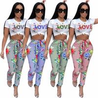 sexy zwei stück overalls für frauen großhandel-High Fashion Damen Zweiteiler Sexy Overall Striped Love Print Strampler Frauen Overall Sommer Kleidung Für Frauen