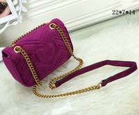 Wholesale small velvet gift bags resale online - New gift Ladies shoulder Fashion black chain makeup bag famous luxury party bag Marmont velvet shoulder bag Womendesigner bags