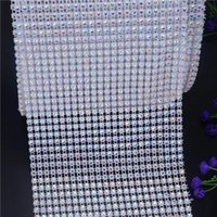 Wholesale crystal trim for wedding dresses resale online - Crystal Rhinestone Trimming row Bling Rhinestone Banding For Wedding Dress AB crystal beadsTrim Sew On Garment Accessories