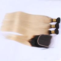 ombre schnürverschluss vorne großhandel-Schwarz und Blond Ombre Peruanische Echthaarwebart Seidengerade mit Verschluss # 1B / 613 Blond Ombre 4x4 Schnürverschluss mit 3 Bündeln