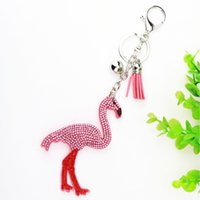 Wholesale Wholesale Bags Jewelry Sets - Originality Fashion flamingo Korea velvet Set with diamonds Key buckle Accessories Tassel Key Ring Jewelry Bag Charm car caroon keychain