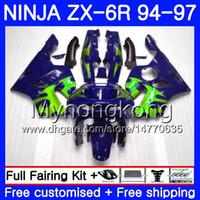 1997 kawasaki fairings toptan satış-KAWASAKI NINJA ZX 636 600CC ZX 6R 1994 1995 1996 1997 213HM.44 ZX600 Yeşil alevler mavi ZX636 ZX-6R 94 97 ZX6R 94 95 96 97 kaporta