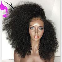 cabelo longo preto vermelho venda por atacado-180 densidade Longo Preto / Vermelho / Marrom Cores Do Laço Peruca de Cabelo Afro Crespo Encaracolado Perucas Dianteiras Do Laço Sintético Para As Mulheres Negras