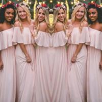 böhmische stil prom kleider großhandel-Neueste Blush Pink Bohemian-Style Brautjungfernkleider Sexy Geraffte Schulterfrei Chiffon Lange Abendkleider Günstige Hübsches Partykleid Für Hochzeiten