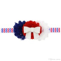 Wholesale 4th july wholesale - baby Girls US Independence Day Headbands Rhinestone Chiffon Flower hair band Sparkle bands 4th of July headband stripe Headwear KHA275