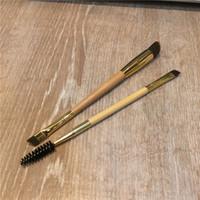 saç için bambu fırçaları toptan satış-TT Serisi Bambu Çerçeve işi çift uçlu kaş fırçası - Pudra Kremi Prodcuts için Sentetik Saç - Güzellik