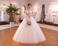vestidos de noiva cortados na princesa venda por atacado-Vestido de noiva a nupcial de manga curta barco neck lace luxo bordado princesa sexy cut-out vestido de baile vestido de novia