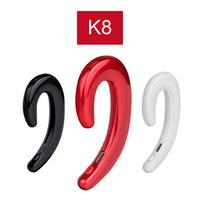 Wholesale wireless earplug headphones resale online - K8 Bluetooth Headphone Wireless Earphone Stereo Ear Hook Universal Mini Phone Headset No Earplugs Car Handsfree Car Mic for iPhone Xiaomi