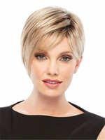 Wholesale Two Tone Blonde Short Wigs - brown blonde two tone color short hair wig Heat resistant fiber synthetic wig capless fashion wig for women