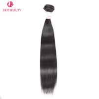 heiße schönheit menschliches haar großhandel-Hot Beauty Hair Peruanische Glatte Haarwebart Bundles 10-28 Zoll 1 Stück Natürliche Farbe Remy Mensch Kann Mischen Kaufen 3 oder 4 Bundles