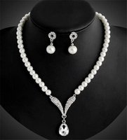 Wholesale Cheap Rings For Sale - 2018 Cheap Necklace Earrings Jewelry Sets Faux Pearls Hot Sale Women's Bridal Wedding Pageant Rhinestone for Party Prom Bridal Jewelry