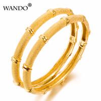 yeni desen altın takı toptan satış-Wando için 1 adet yeni desen Orta Doğu Bileklik Kadın Men18k Altın Renk Dubai Bilezik AfricaN / Arap / Etiyopya takı hediye wb15