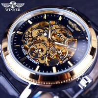 reloj dorado para hombre al por mayor-Ganador Nuevo Relojes para hombre Marca de lujo de lujo Reloj de pulsera deportivo dorado Diseñador de 4 anillos Estuche transparente Hombre de esqueleto Reloj de negocios