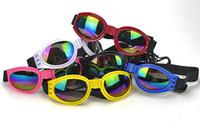 Wholesale dog sunglasses wholesale online - Dog Glasses Fashion Foldable Sunglasses Medium Large Dog Glasses Big Pet Waterproof Eyewear Protection Goggles UV Sunglasses wn530 pc