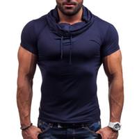 camisas ajustadas del músculo al por mayor-Primavera verano, musculoso, para hombre, ropa deportiva, color sólido, manga corta, cuello de pila con suéter con botones, manga corta, camisa de algodón slim fit