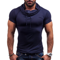 Wholesale muscle mens shirts - Spring Summer Muscle Mens Sport Wear Solid Color Short Sleeve Heap Collar With Button Pullover Short Sleeve Slim Fit Cotton Shirt