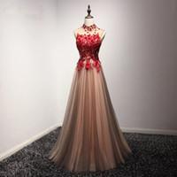 ingrosso immagini per la moda camicia-Immagine reale floreali Appliques abiti da ballo collo alto formale rosso lungo vestido de Noiva abito da sera delle donne di modo Dhgate abiti robe de soiree