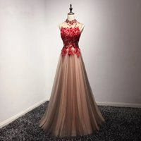 Wholesale Navy Silk Robes - Real Image High Neck Red Floral Appliques Prom Dresses Formal Long vestido de noiva Fashion Women Evening Dress Dhgate Gowns robe de soiree