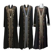 islamische kleider mode großhandel-Mode arabischen muslimischen Abaya Kleid islamischen Kleidung für Frauen Dubai Kaftan Abaya Kleid türkische muslimische Kleider bescheiden Abaya Kleider