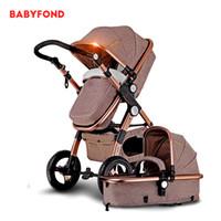 taşıma tekerlekleri toptan satış-Şişme tekerlek ile 2-in-1 bebek arabası çift kullanımlı bebek arabası Avrupa yüksek manzara arabası yalan olabilir