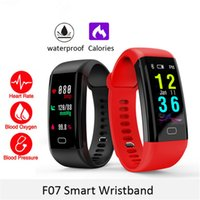 Wholesale oxygen blue - Color Screen F07 Sport Smart Band Waterproof Heart Rate Fitness Bracelet With Blood Pressure Oxygen Monitor Sport Wristband