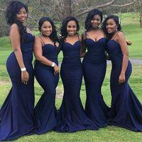 vestido de noiva africano fazer venda por atacado-2018 africano escuro azul sereia vestidos de dama de honra sexy cintas de espaguete namorada de honor vestidos de cetim custom made vestido de hóspedes do casamento