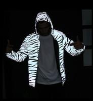 Wholesale zebra print jackets - Kayan West Man Jacket Tide Plate Zebra 3M Reflective Jackets Winner Luminous Jackets Justin Bieber Embroidered Turtleneck Tops for Men and W