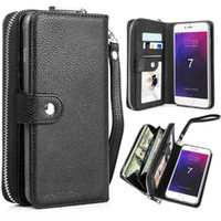 deri çanta toptan satış-IPhone XS için MAX XR X 7 8 Ayrılabilir Deri Cüzdan Kılıf Fermuar Çanta Kılıfı Flip Kart Geri Telefon Kapak S8 S9