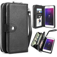 tampa da tampa da bolsa venda por atacado-Para iphone xs max xr x 7 8 destacável carteira de couro bolsa com zíper bolsa flip cartão de volta tampa do telefone para s8 s9