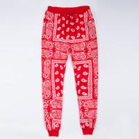 панталоны hip hop hombre оптовых-Оптово-мужские бегунки спортивные штаны Swag Pantalones Hombre красный синий бандана бегунов мужские брюки хип-хоп женские брюки уличная одежда унисекс