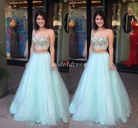 Wholesale mint green prom dresses resale online - 2018 Two Pieces Mint Green Prom Dresses Spaghetti Crystal Beaded Long Homecoming Dress Special Occasion Gowns Party Wear Vestidos De Fiesta